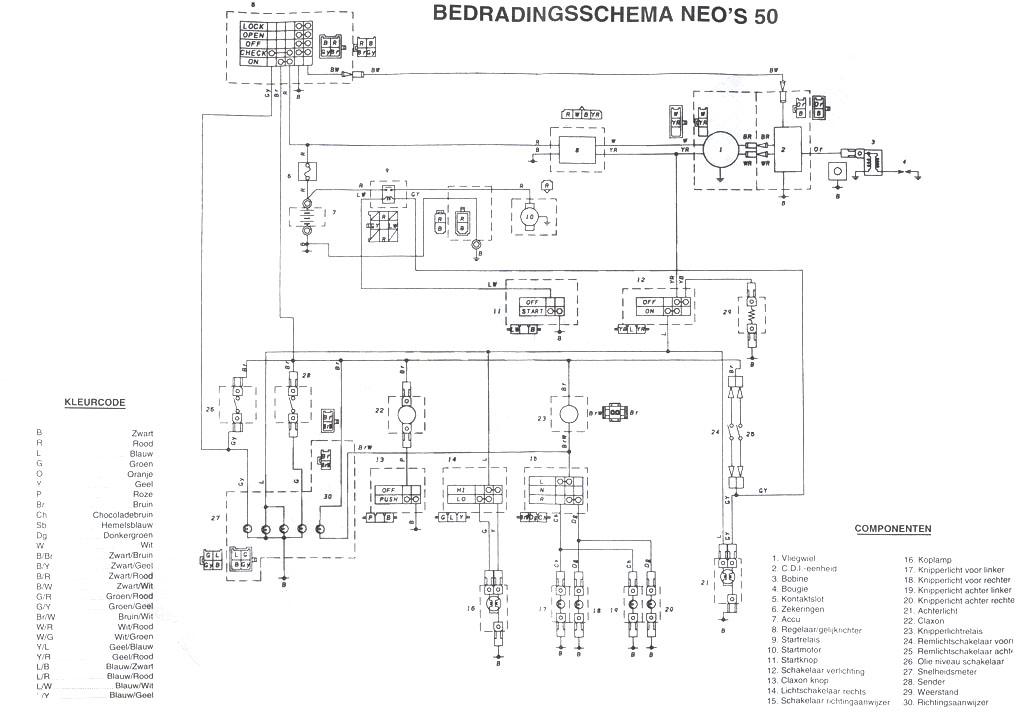 Схема скутера Ямаха Neos 50