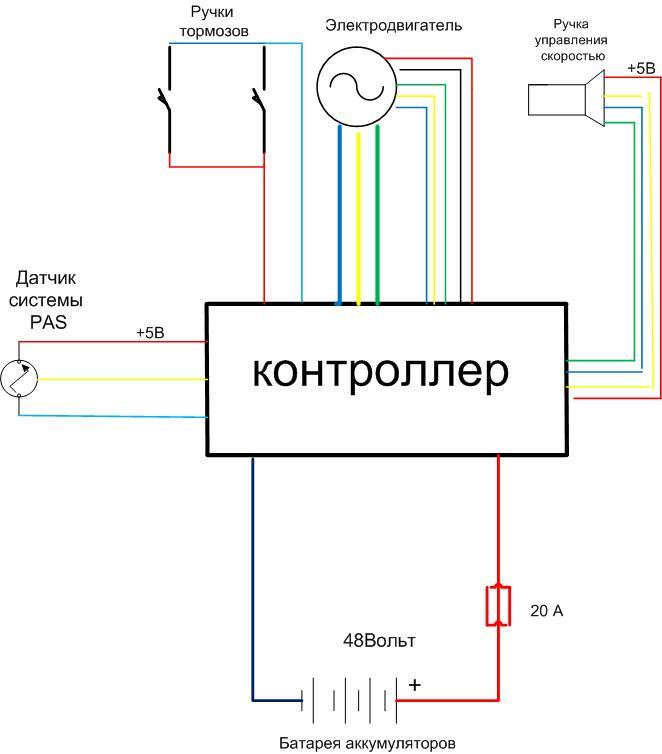 схема подключения мотор-колеса